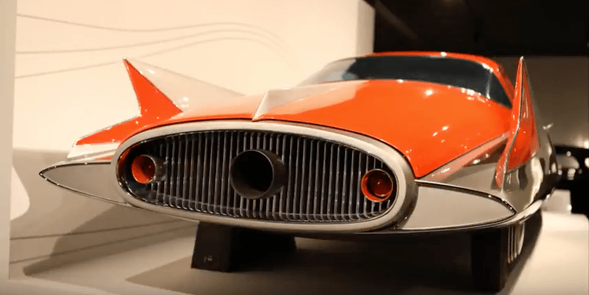 A close up view of a 1955 Chrysler Streamline X on display