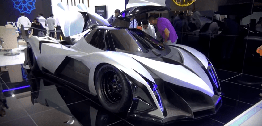 The Devel concept car on display