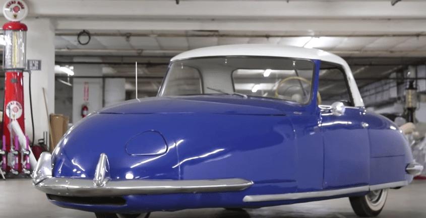 Blue Davis Divan on display in a garage