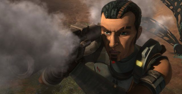 Saw Gerrera aiming and firing a weapon.