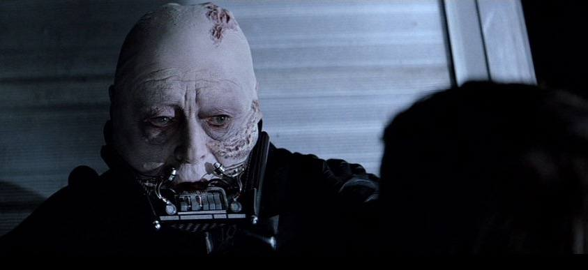 Darth Vader unmasked at the end of Return of the Jedi