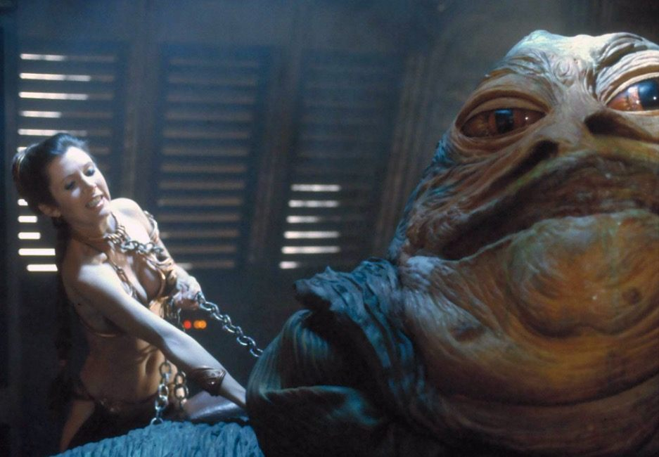 Princess Leia kills Jabba the Hutt in Return of the Jedi