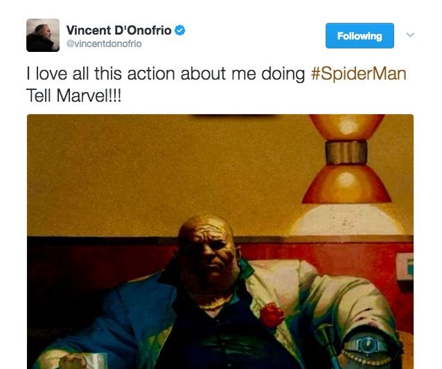 Vincent D'Onofrio talks Spider-Man on Twitter