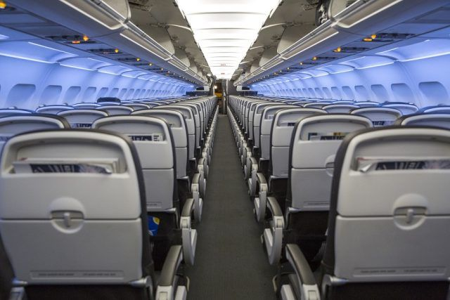 Seat Rows inside an Airplane