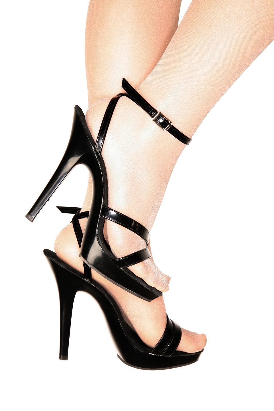 strapped black patent leather high heel stilettos