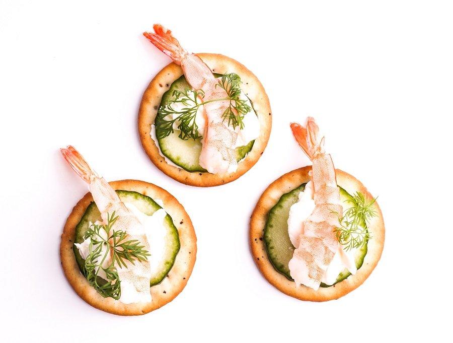 Shrimp Appetizer served on crackers