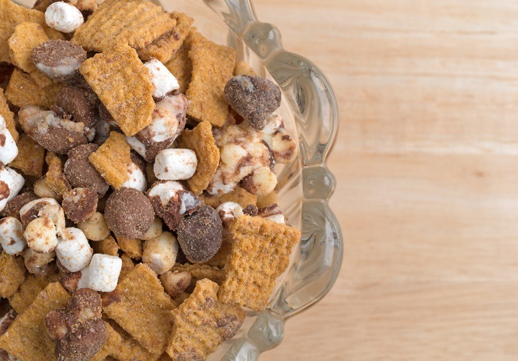 Top close view of smores candy mixture