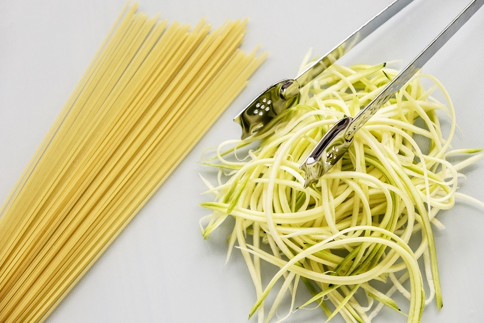 spaghetti with stainless steel kitchen serving tongs