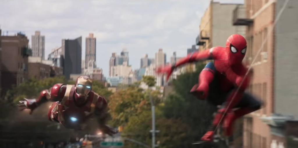Iron Man (Robert Downey Jr.) and Spider-Man (Tom Holland) in Spider-Man: Homecoming