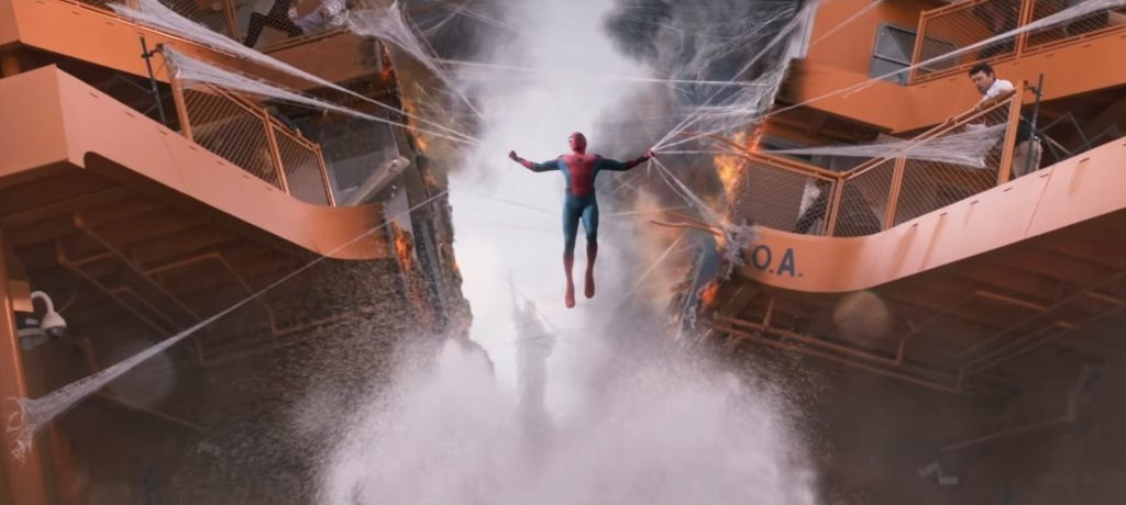 Spider-Man (Tom Holland) holds a ship together in Spider-Man: Homecoming