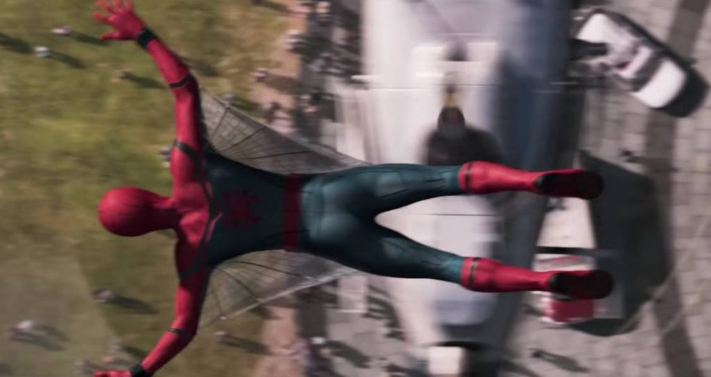 Spider-Man in mid-air jumping toward the ground