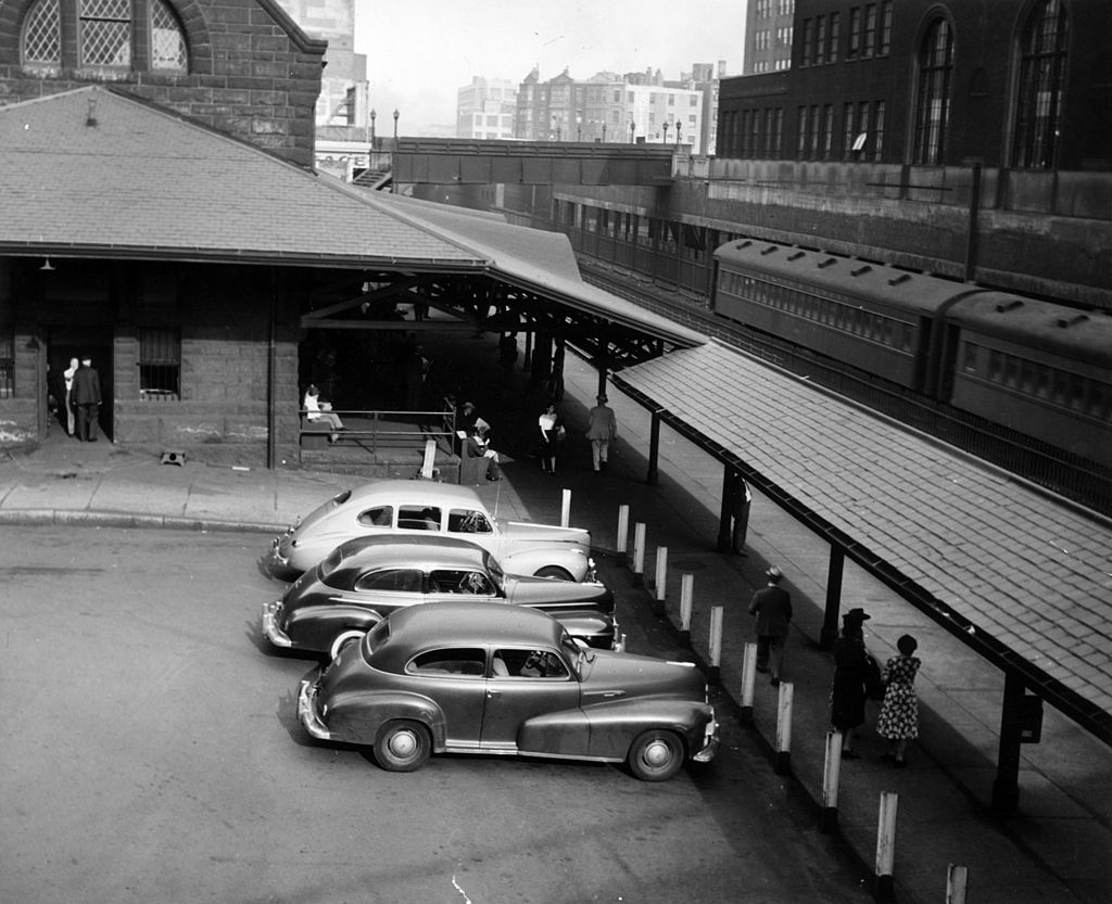 Back Bay, Boston with Trinity Place Railroad Station