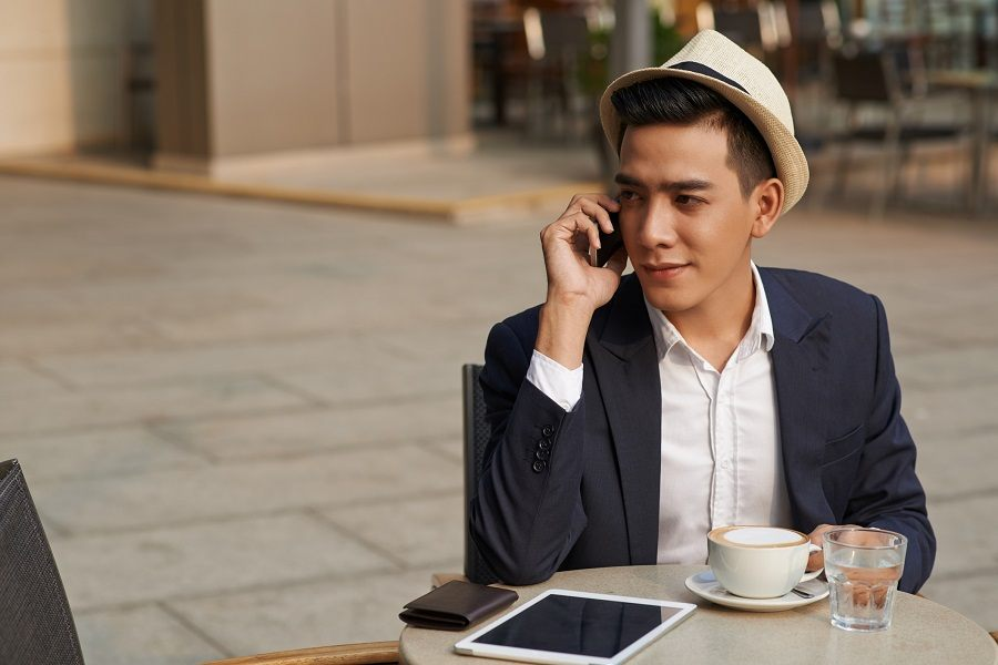 young man talking on the phone