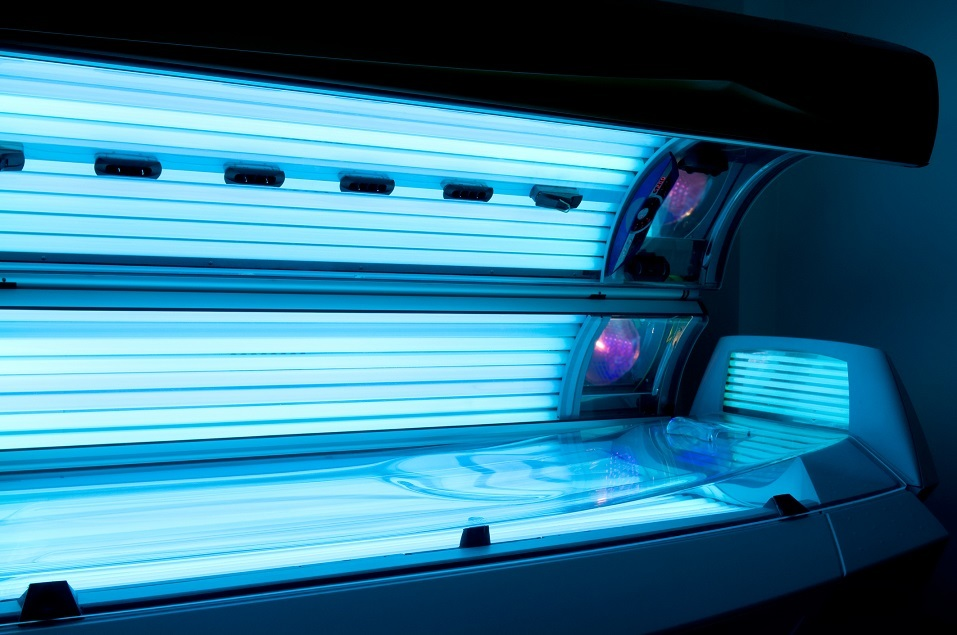 Tanning bed solarium at health club