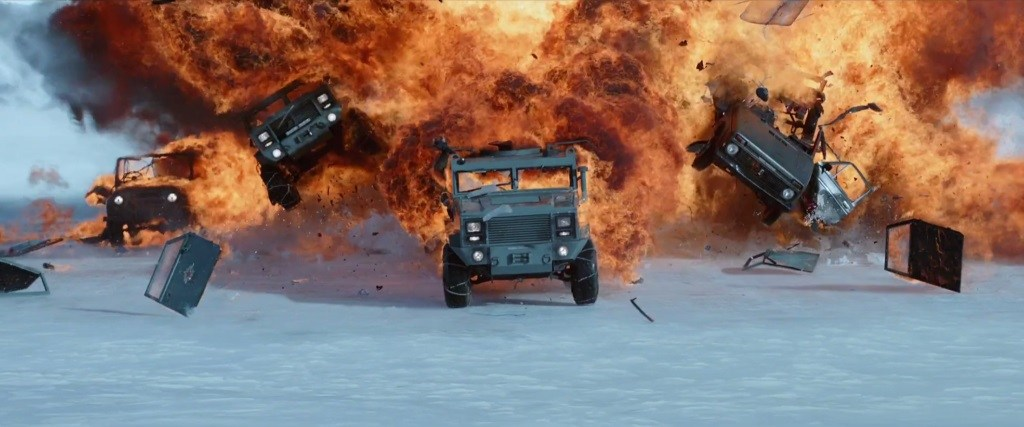 Four jeeps exploding in The Fate of the Furious