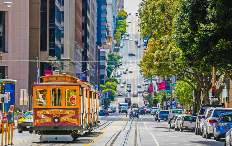 Yellow cable car in San Francisco, California