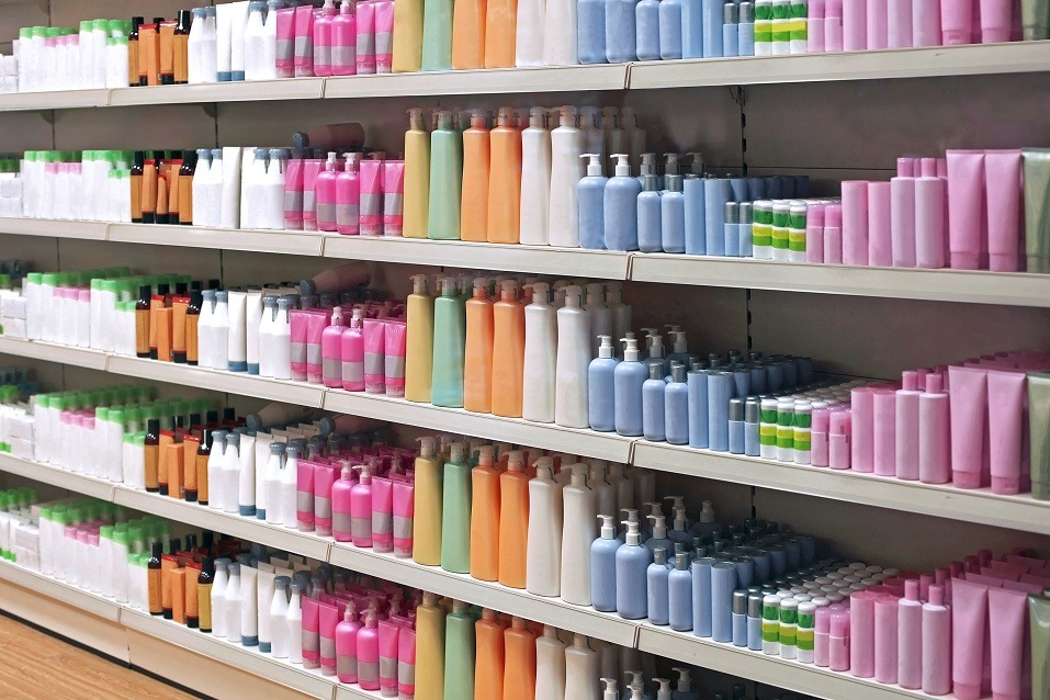 Toiletries on shelves