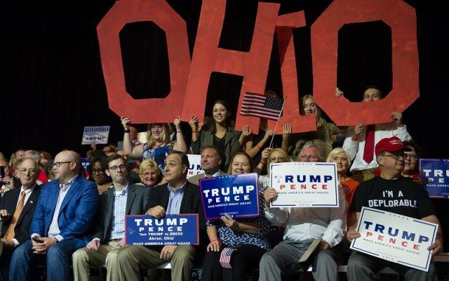 Supporters cheer for Trump during a campaign rally in Ohio
