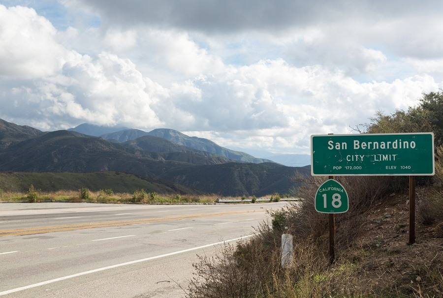 San Bernadino in California from Route 18 Rim of the World Highway