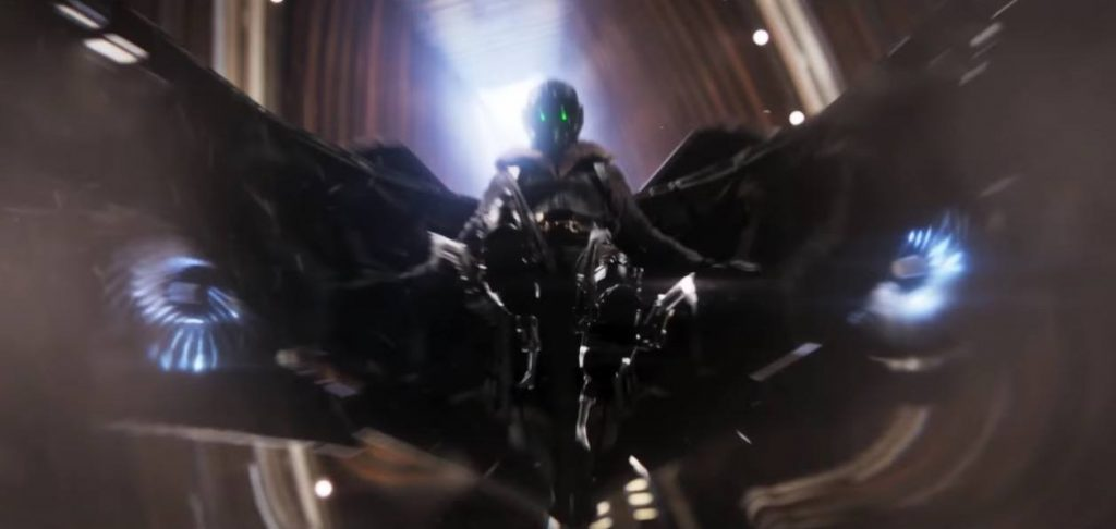 Vulture in a flying super-suit, descending through a narrow building with his claws out