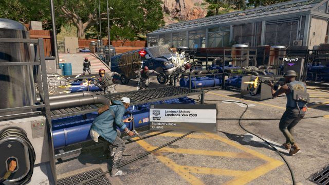 Marcus taking cover behind a car in Watch Dogs 2