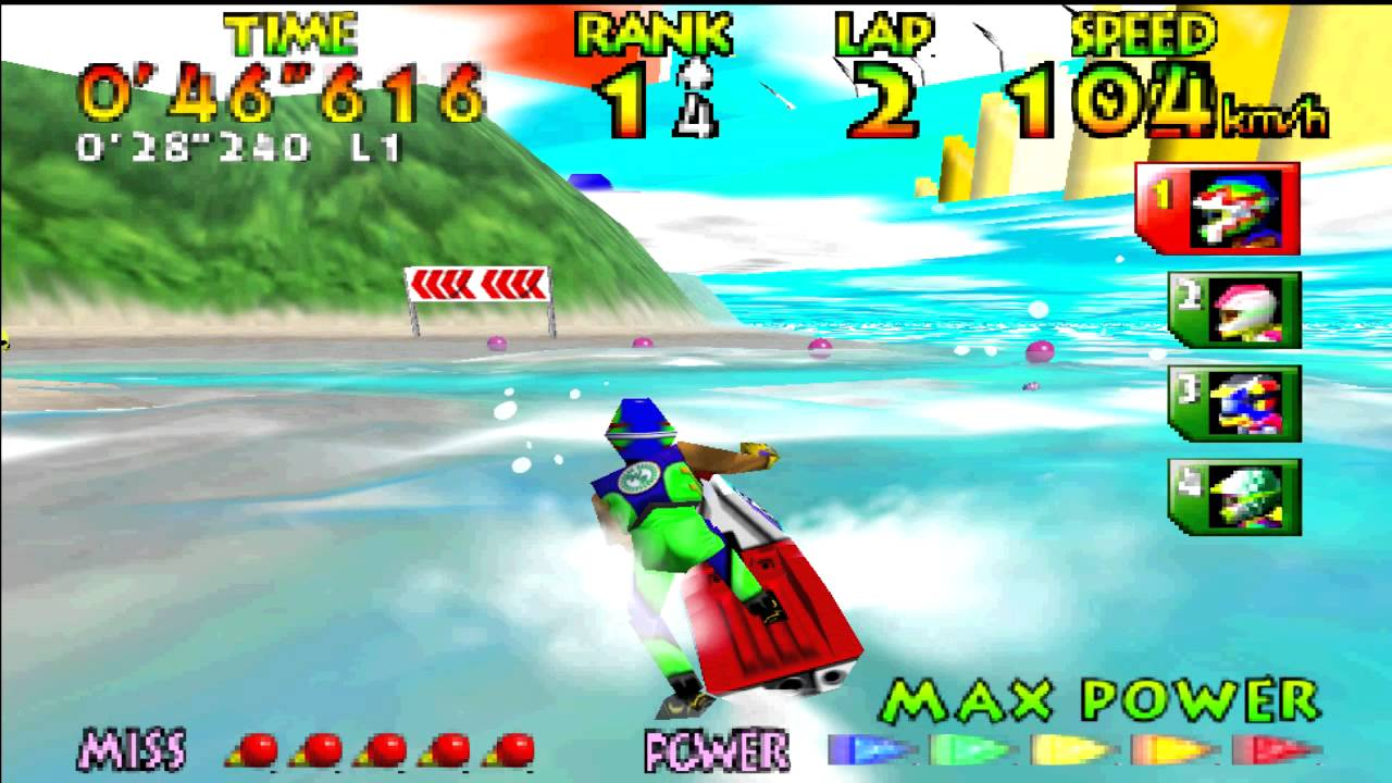 Jet skiing in 'Wave Race 64'
