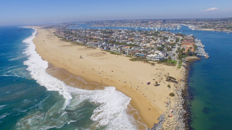 view of the 'wedge' in Newport Beach, Southern California