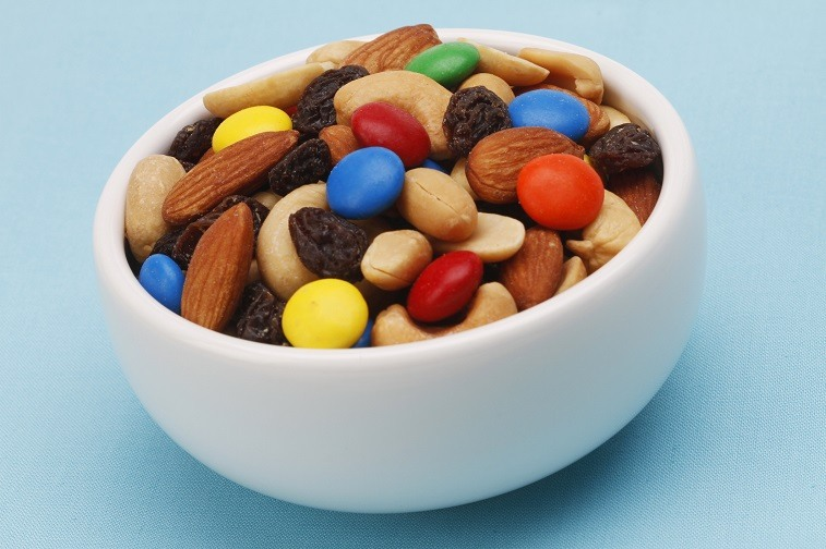 Trail mix in a white bowl
