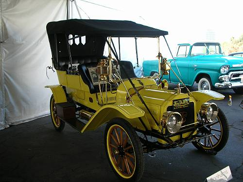 A yellow Winton Flyer, the only vehicle of its kind ever built.