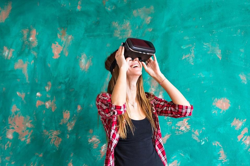 Woman wearing virtual reality headset