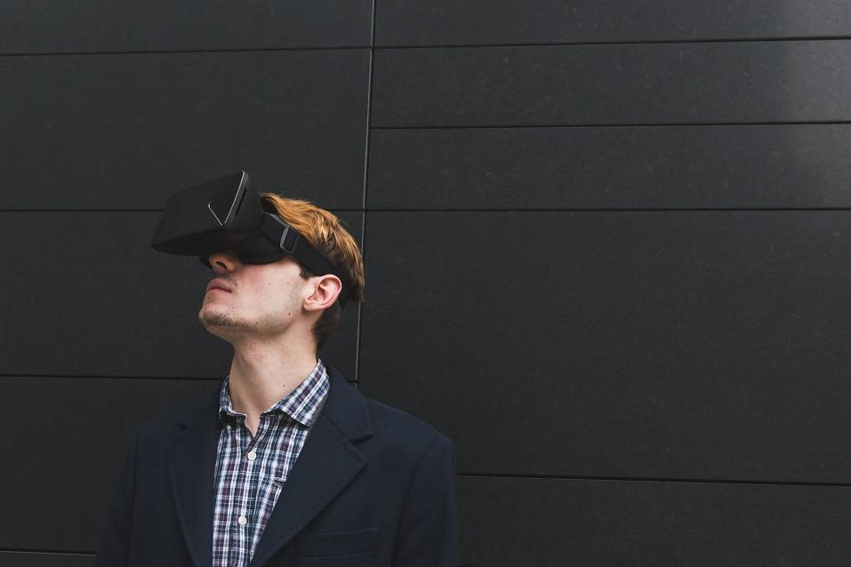 handsome man wearing a virtual reality headset