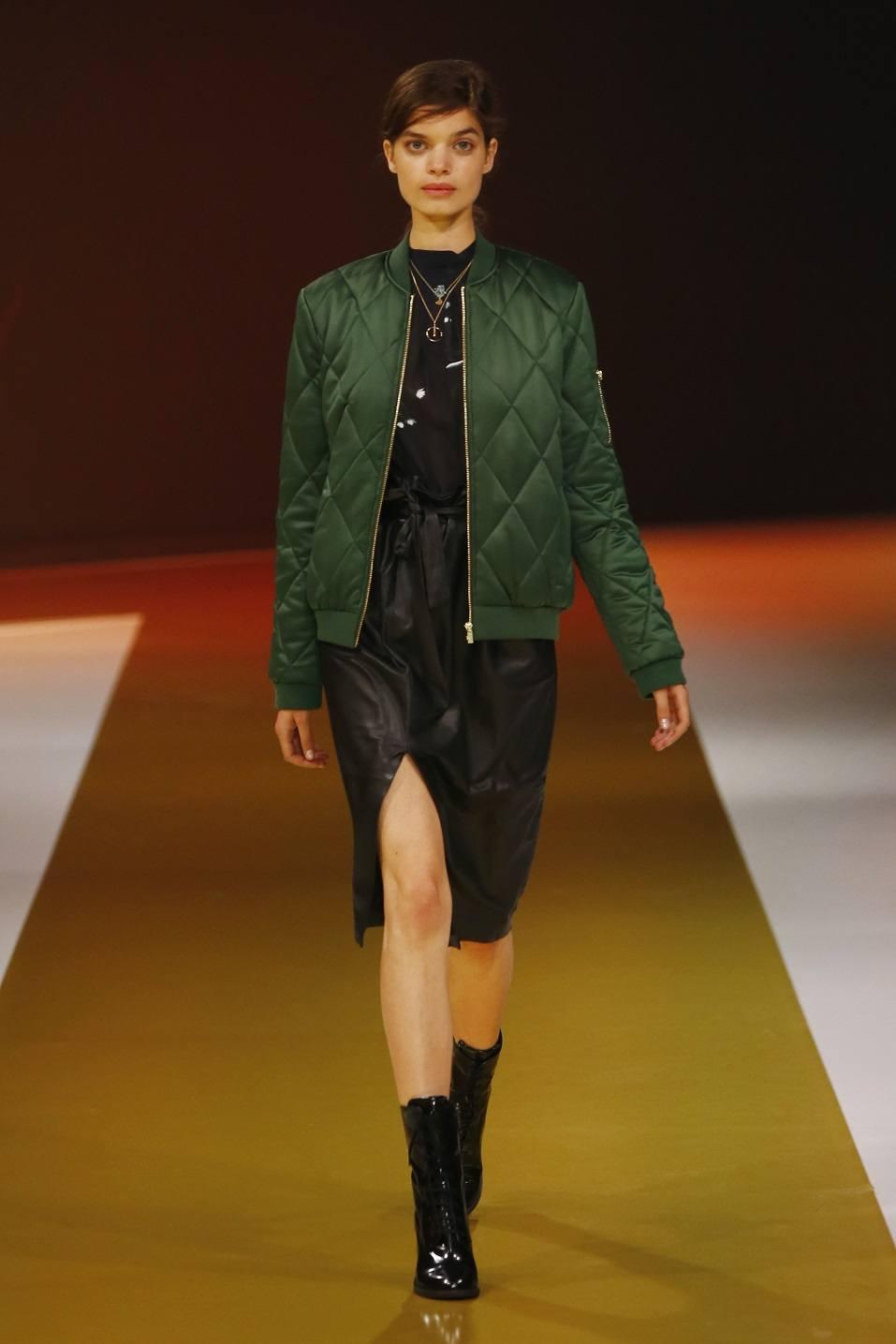 A model walks the runway at the Zalando fashion show