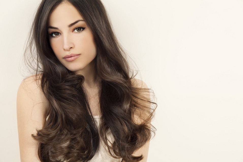 brunette woman with long healthy hair