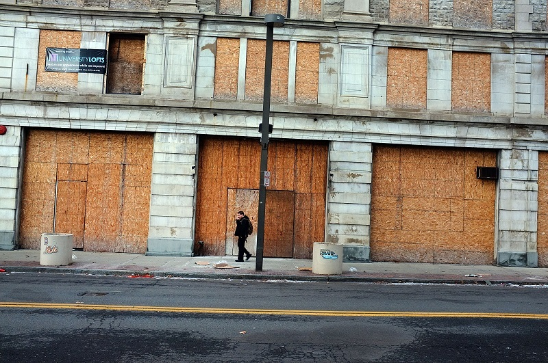 boarded-up building
