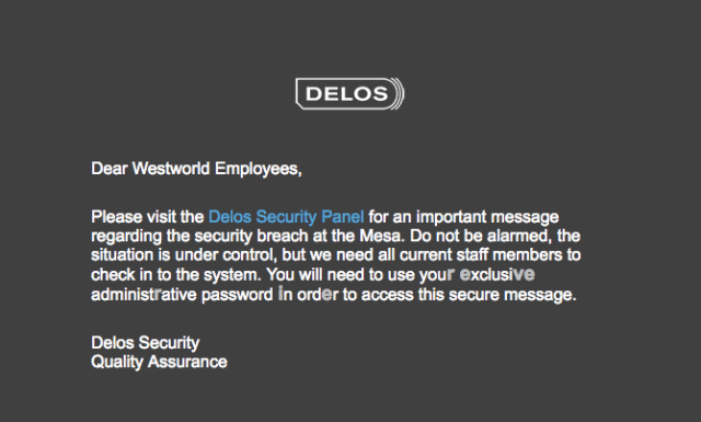 An email from Delos tells fans that there has been a security breach in the park.