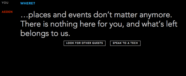 "Aeden tells website visitors ""...places and events don't matter anymore. There is nothing here for you, and what's left belongs to us."""