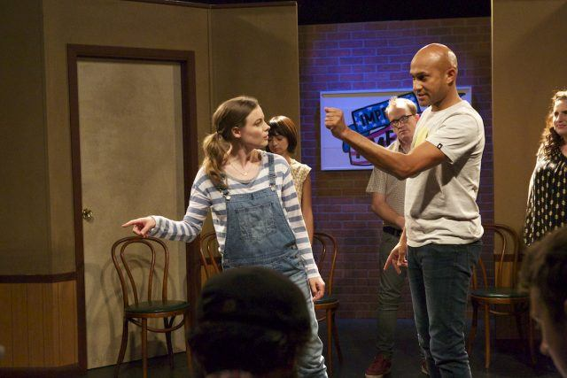 Samantha (Gillian Jacobs) and Jack (Keegan-Michael Key) doing improv in 'Don't Think Twice'
