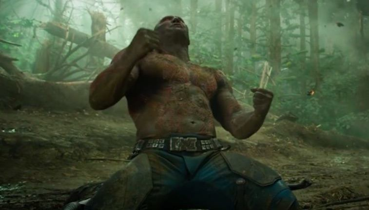 Drax on his knees looking at the sky in Guardians of the Galaxy Vol. 2