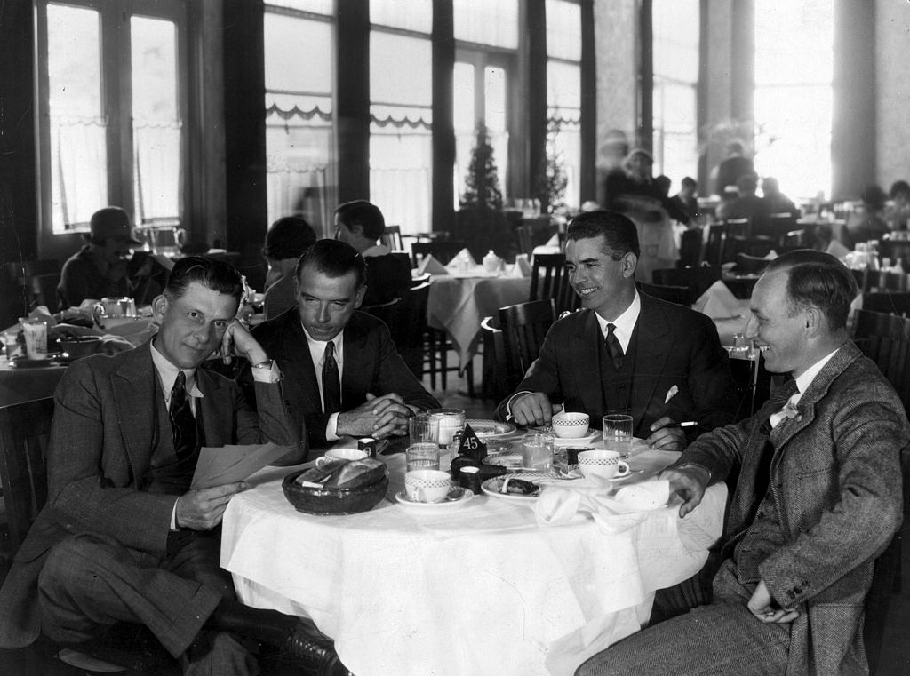 Men drinking coffee in a restaurant