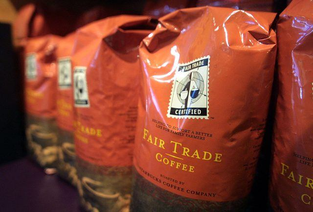 fair trade coffee on a shelf