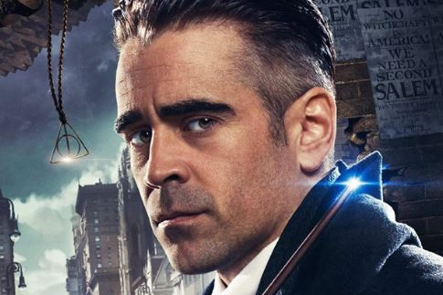 Percival Graves (Colin Farrell) and the Deathly Hallows symbol appear in a promotional image for 'Fantastic Beasts and Where To Find Them'