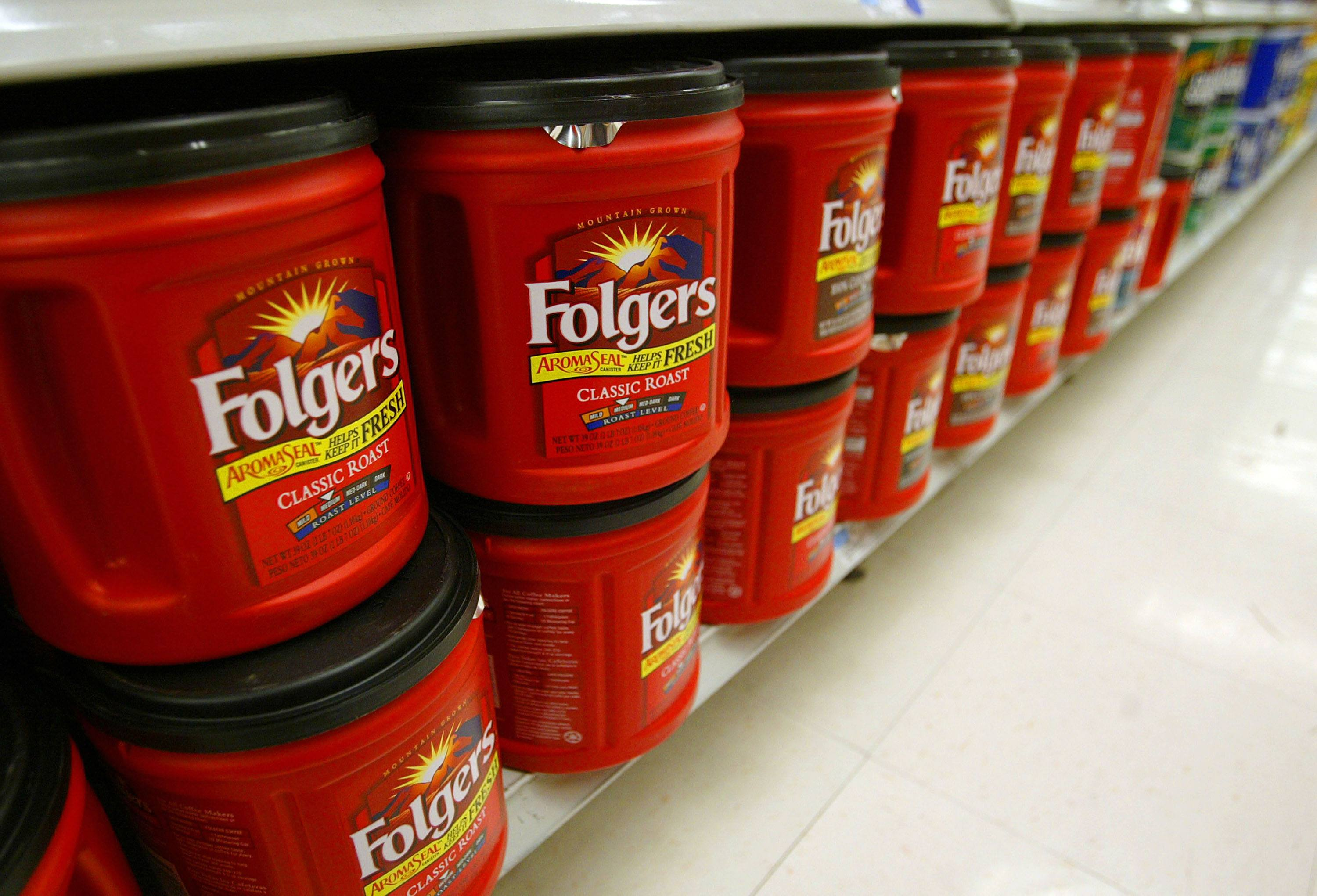 Folgers coffee, the best part of waking up, is seen on a grocery store shelf