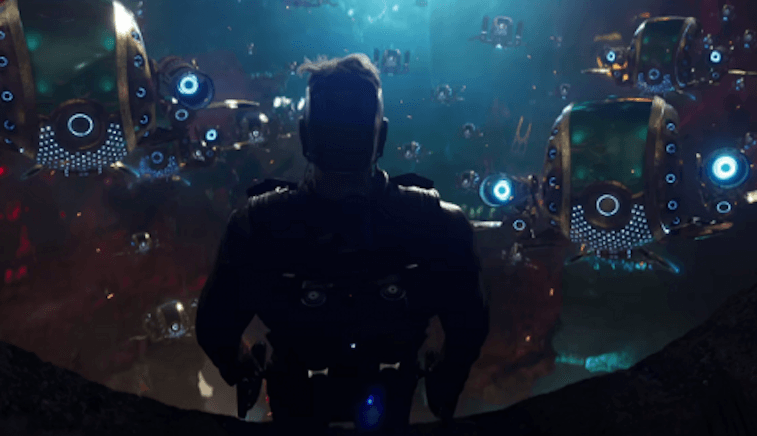 Looking out at several small ships in Guardians of the Galaxy Vol. 2