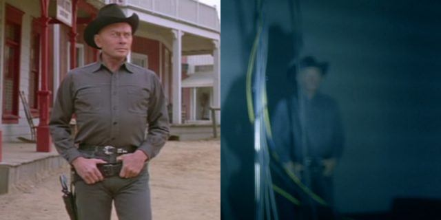 The Gunslinger (Yul Brynner) in the 'Westworld' film and in an episode of HBO's adaptation.