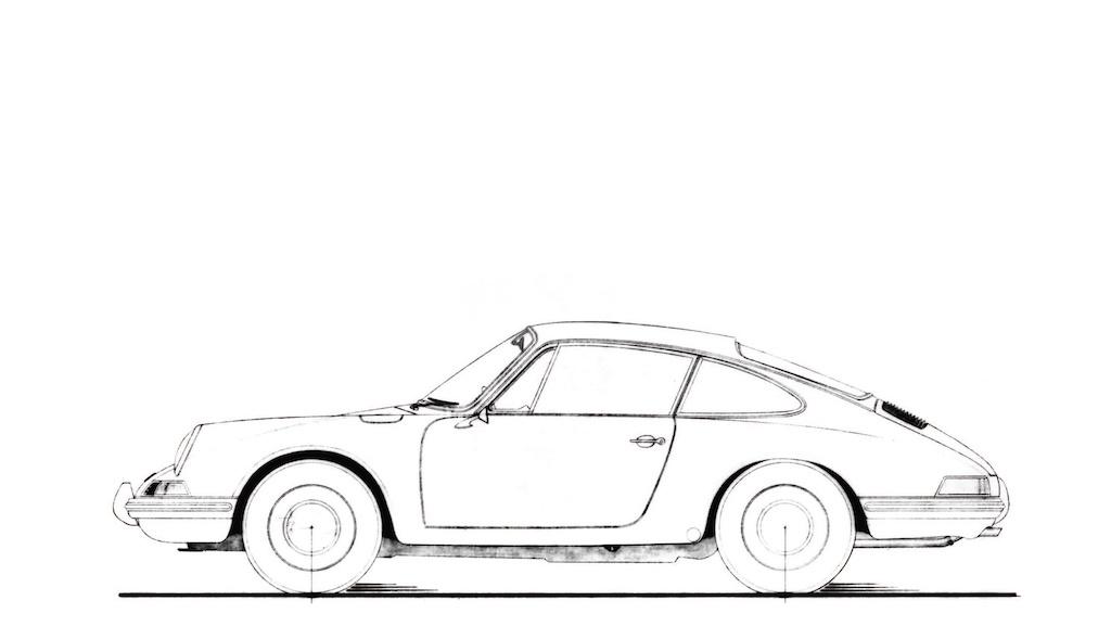 Porsche 911 original sketch, 1963