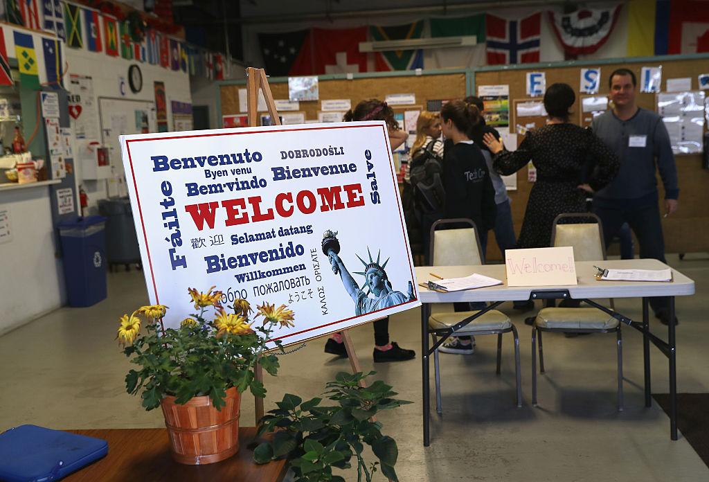 Immigrants at a migrant assistance center