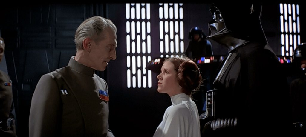 Tarkin and Princess Leia in Star Wars: A New Hope