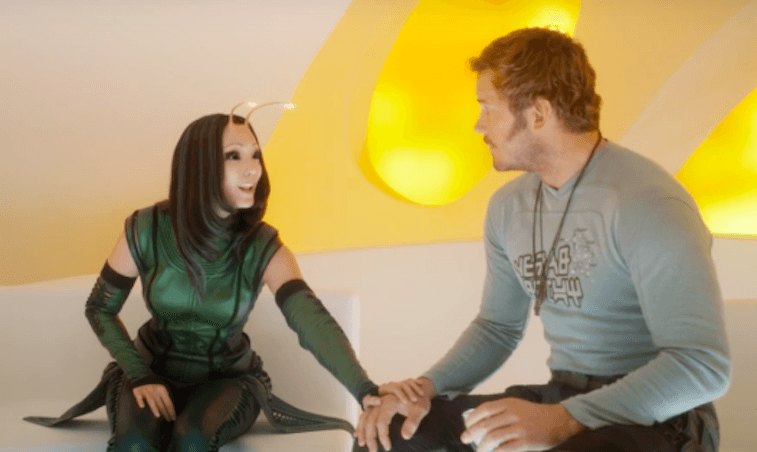 Mantis puts a hand on Peter Quill's hand in Guardians of the Galaxy Vol. 2