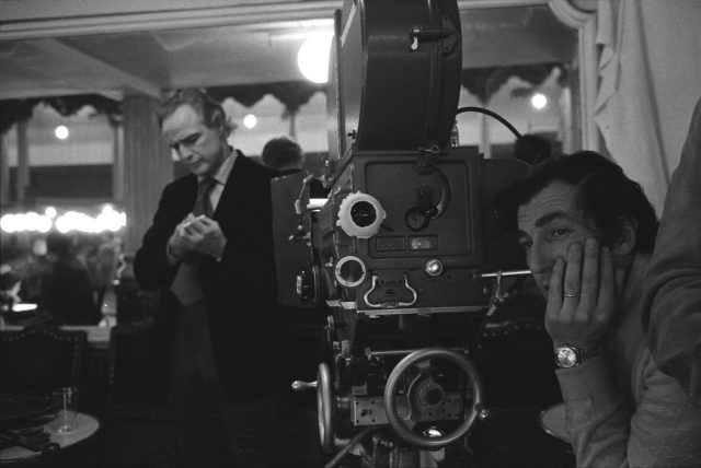 Marlon Brando and Bertolucci in between shots during the filming of 'Last Tango in Paris'