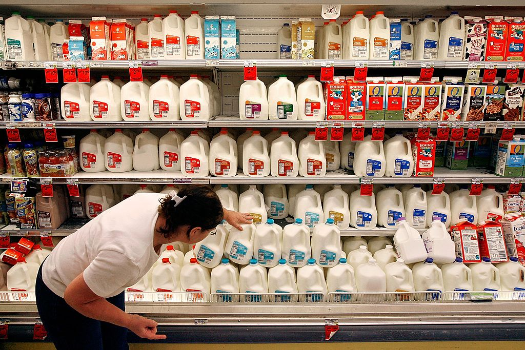 milk for sale in the grocery store